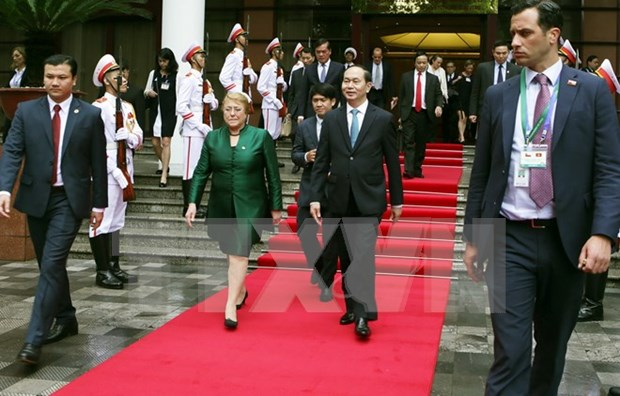 智利总统离开河内前往岘港出席APEC领导人会议周相关活动 hinh anh 1