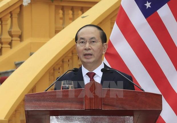 越南国家主席陈大光与美国总统特朗普召开联合新闻发布会 hinh anh 2