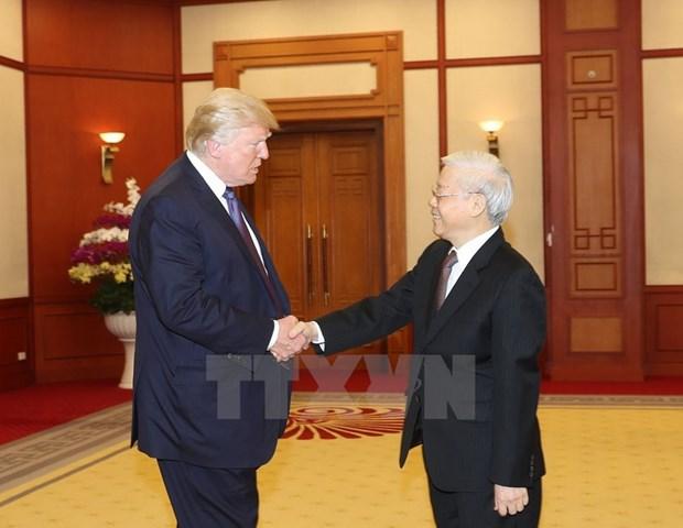 越共中央总书记阮富仲会见美总统特朗普 hinh anh 1