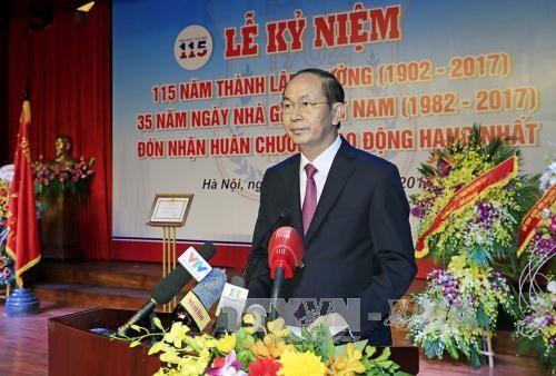 越南国家主席陈大光出席河内医科大学建校115周年纪念典礼 hinh anh 1