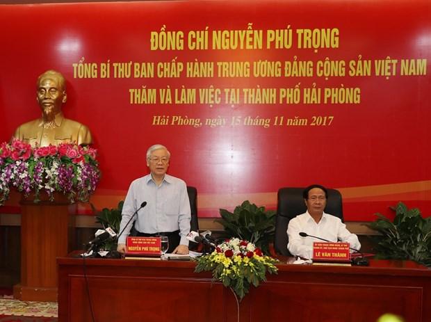 阮富仲总书记:建设绿色、稳定、现代与可持续发展的海防市 hinh anh 2