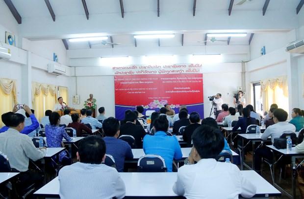 越南为老挝新闻工作者开展公关技巧培训班 hinh anh 1