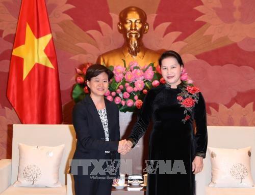 越南国会主席阮氏金银会见新加坡驻越大使凯瑟琳 hinh anh 1