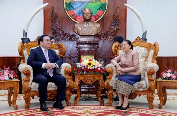 老挝领导会见河内市代表团 hinh anh 2