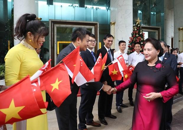 越南国会主席阮氏金银开始对新加坡进行正式访问 hinh anh 2