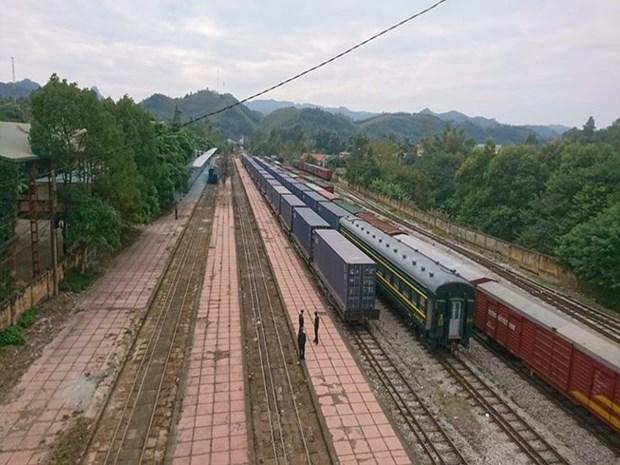 首趟中国至越南河内集装箱货运班列抵达 hinh anh 1