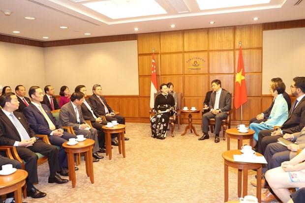 越南国会主席阮氏金银与新加坡国会议长陈川仁举行会谈 hinh anh 1