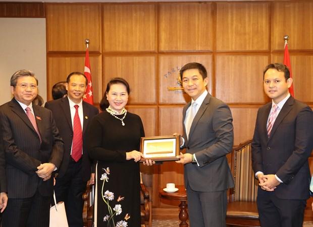 越南国会主席阮氏金银与新加坡国会议长陈川仁举行会谈 hinh anh 2