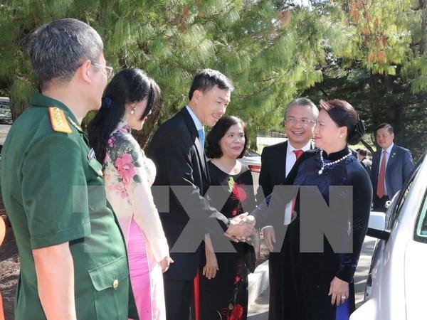 阮氏金银会见越南驻澳大使馆工作人员与旅澳越南人代表 hinh anh 1