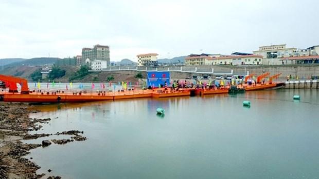 越南芒街与中国东兴临时浮桥正式通车 hinh anh 1