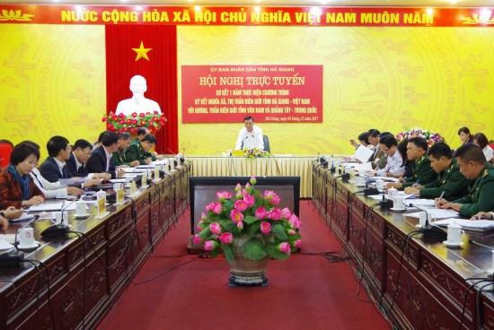 越中边境友好乡镇缔结活动落实情况总结会议在河江省召开 hinh anh 1