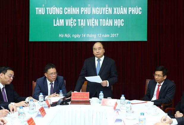 阮春福总理与越南数学研究院领导举行工作会议 hinh anh 1