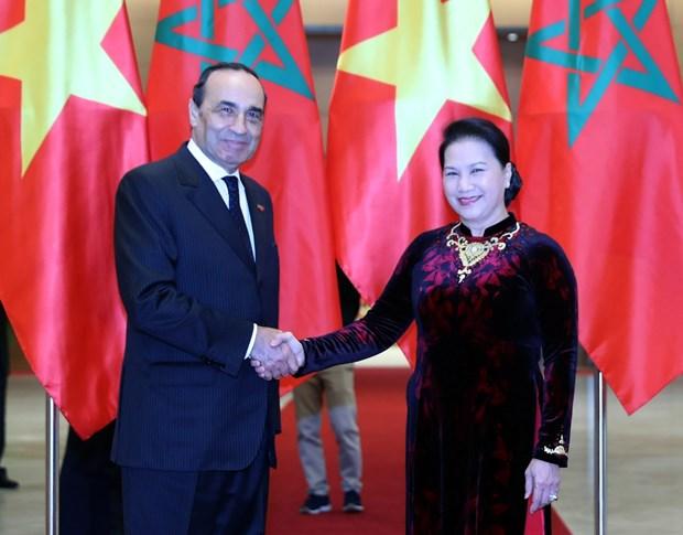 越南国会主席阮氏金银与摩洛哥众议院议长哈比博·马勒克举行会谈 hinh anh 1
