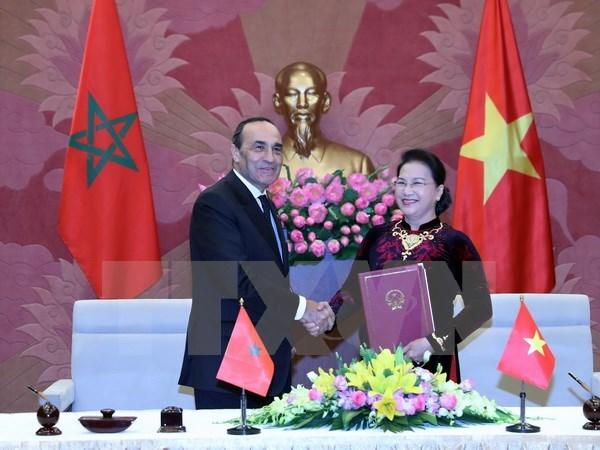 越南国会主席阮氏金银与摩洛哥众议院议长哈比博·马勒克举行会谈 hinh anh 3