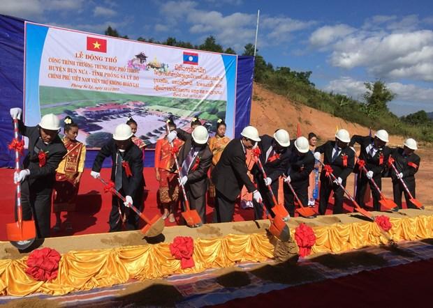 越南援建的老挝一所高中学校正式开工 投资总额545万美元 hinh anh 1