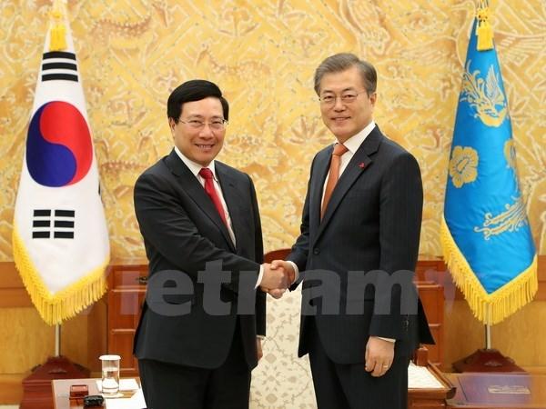 政府副总理兼外长范平明会见韩国总统和总理 同韩国外长举行会谈 hinh anh 1
