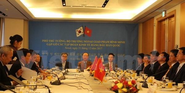 政府副总理兼外长范平明会见韩国总统和总理 同韩国外长举行会谈 hinh anh 5