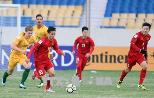 2018年U23亚洲杯D组:越南U23足球队1-0击败澳大利亚U23足球队 hinh anh 1