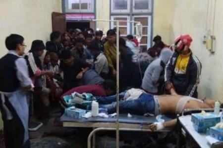 缅甸若开邦示威者与警方发生冲突致40人受伤 hinh anh 1