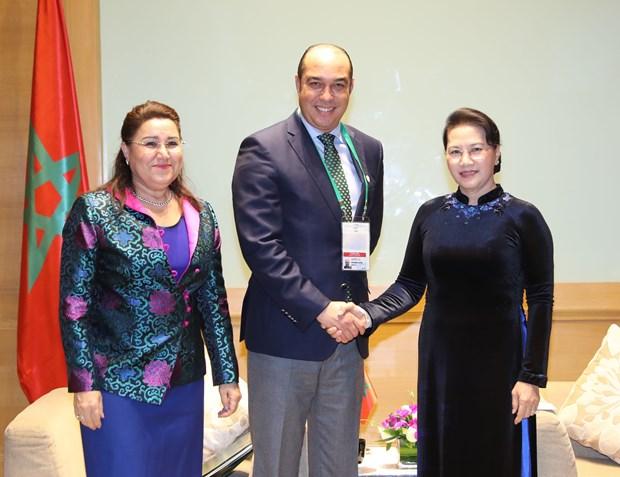 国会主席阮氏金银会见日本和摩洛哥客人 hinh anh 2