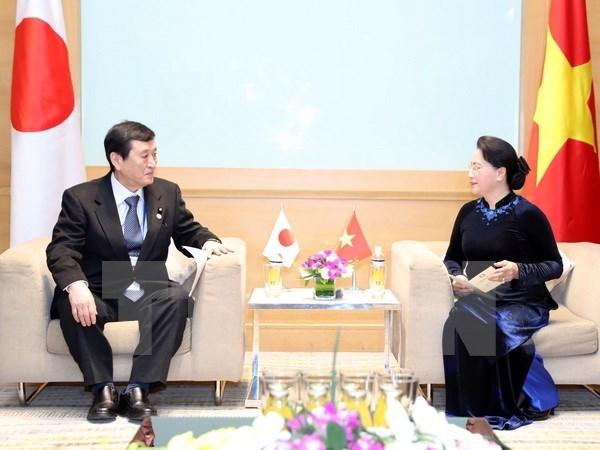 国会主席阮氏金银会见日本和摩洛哥客人 hinh anh 1