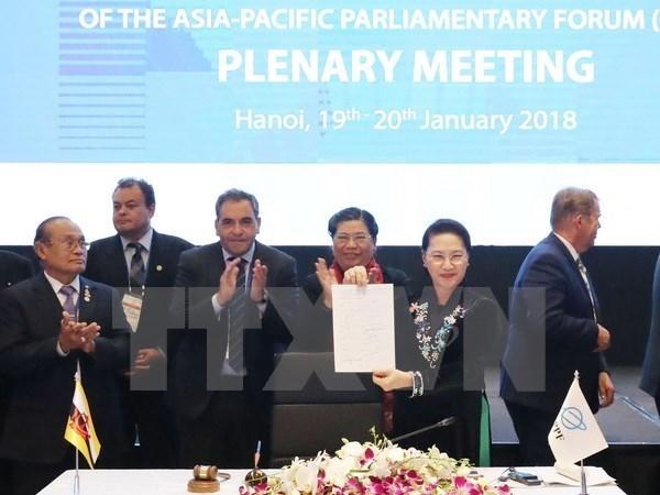 亚太议会论坛第26届年会通过《APPF-26联合公报》 hinh anh 1