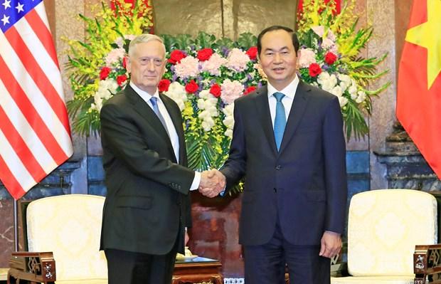 越南国家主席陈大光会见美国国防部长马蒂斯 hinh anh 1