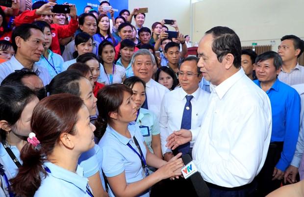 国家主席陈大光: 关心关爱工人和劳动者 注重提高其生活水平 hinh anh 2