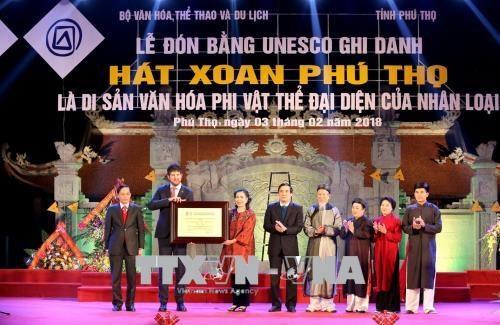 政府副总理武德儋出席富寿春曲《人类非物质文化遗产代表作名录》证书颁证仪式 hinh anh 1