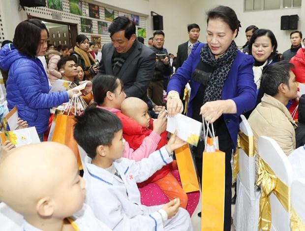 国会主席阮氏金银向儿童癌症患者赠送春节慰问品 hinh anh 1