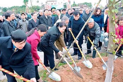 越南国会主席阮氏金银出席海阳省植树节启动仪式 hinh anh 1
