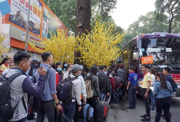 """胡志明市开启 """"春节班车""""活动 送数千名大学生回家过年 hinh anh 1"""