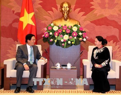 越南国会主席阮氏金银会见前来辞行拜会的中国驻越大使洪小勇 hinh anh 1