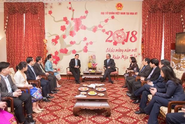老挝驻中国大使前往越南驻中国大使馆庆祝越南传统节日春节 hinh anh 2