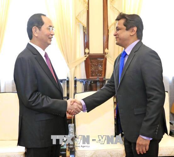 越南国家主席陈大光会见印度塔塔集团越南公司总经理森古普塔 hinh anh 1