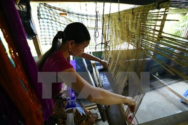 佬族同胞努力保护传统锦缎编织工艺业 hinh anh 1