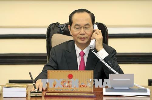 越南国家主席陈大光与美国总统特朗普通电话 hinh anh 1