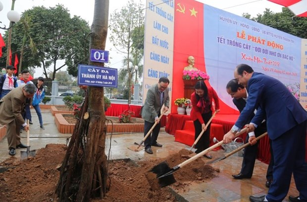 河内市委书记黄忠海出席植树节启动仪式 hinh anh 1