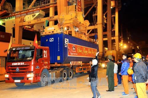 2018年春节期间海防港迎来多艘集装箱船进港装卸货 hinh anh 1