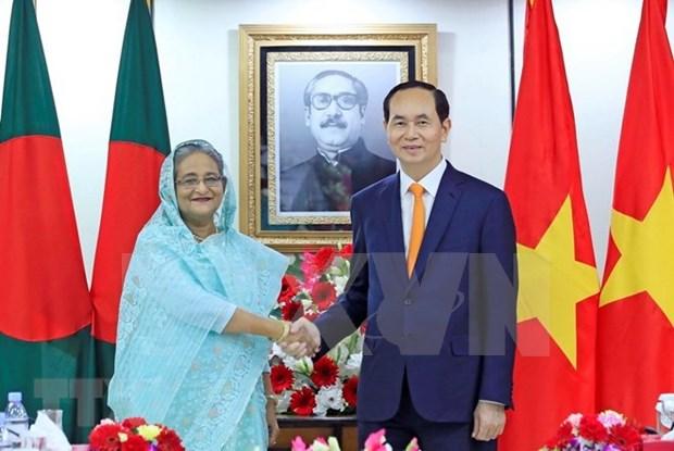 越南与孟加拉国就陈大光对孟加拉国进行国事访问发表联合声明 hinh anh 1