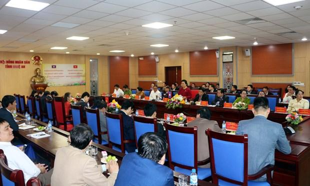 老挝国会民族委员会访问越南乂安省 hinh anh 1