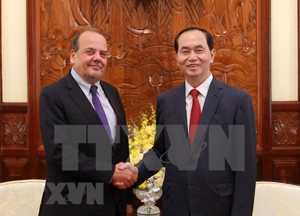 国家主席陈大光会见智利驻越大使克劳迪奥·德·内格里 hinh anh 1