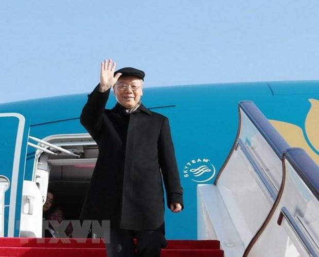 越共中央总书记阮富仲启程对法国进行正式访问 hinh anh 1