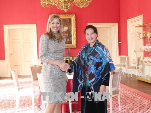 越南国会主席阮氏金银拜访荷兰皇后马克西玛 hinh anh 1