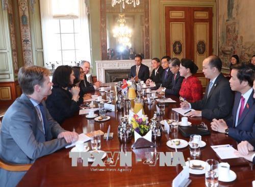 荷兰众议院议长举行仪式欢迎越南国会主席阮氏金银到访 双方举行会谈 hinh anh 1