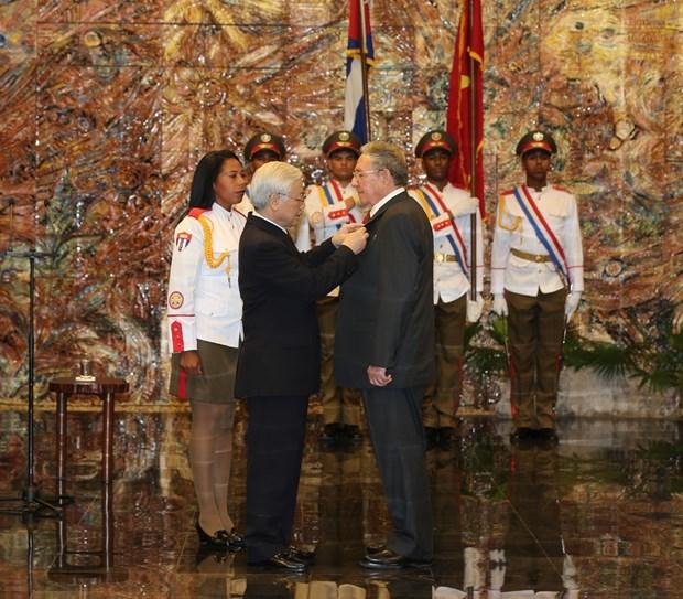 阮富仲总书记向古巴共产党中央委员会第一书记授予金星勋章 hinh anh 1