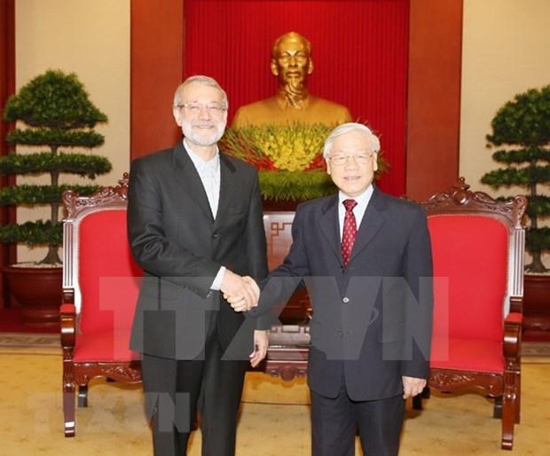 越共中央总书记阮富仲会见伊朗伊斯兰共和国议会议长阿里•拉里贾尼 hinh anh 1