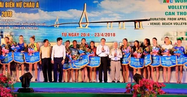 2018年亚洲女子沙滩排球比赛在芹苴市正式开赛 hinh anh 1