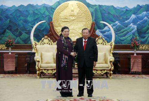 老挝党、国家与政府领导分别会见越南国会代表团 hinh anh 1