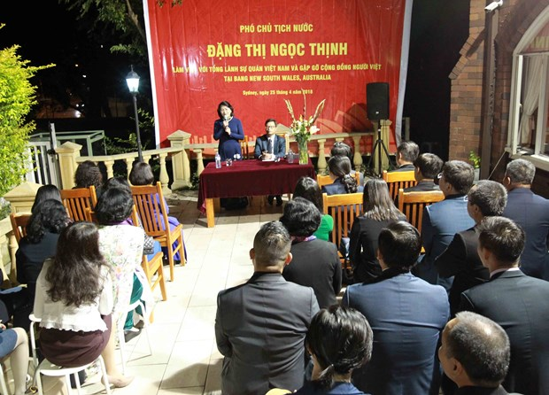 国家副主席邓氏玉盛视察越南驻悉尼总领事馆 hinh anh 2